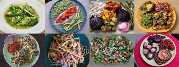 Fotos de platos de Eat-Lancet de ejemplos de una dieta sostenible saludable
